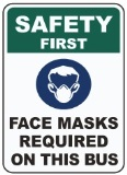 Safety First Face Mask Required On This Bus Decal