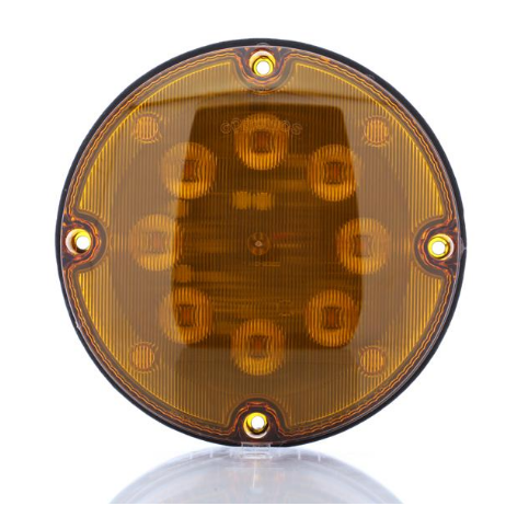 "Yellow 7"" round warning lamp, 12V"