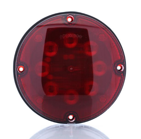 "Red 7"" round warning lamp, 12V"